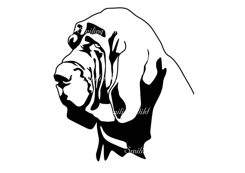 bloodhound clipart svg art design drawing bloodhound cutout vector graphic  printable gift instant download commercial use.