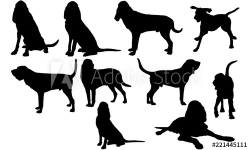 Bloodhound Dog svg files cricut, silhouette clip art, Vector.
