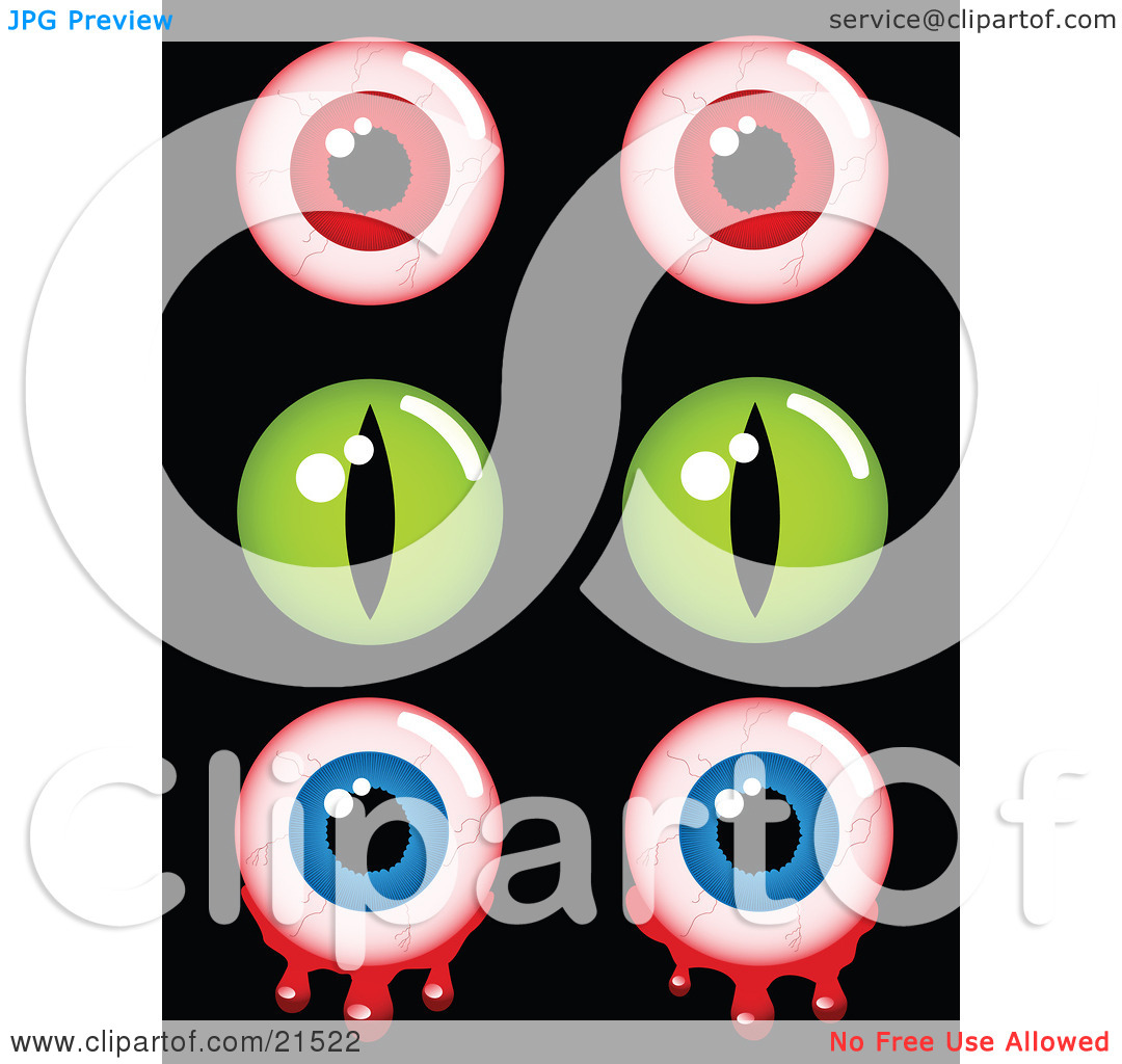 Clipart Illustration of a Collection Of Creepy Halloween Eyes.