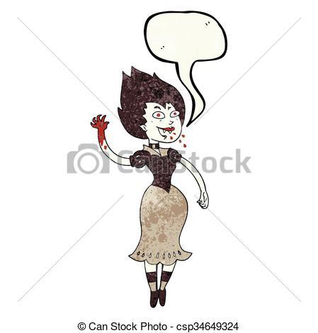 Vector Illustration of speech bubble textured cartoon blood.