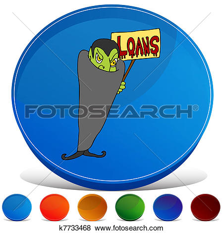 Clip Art of Blood Sucking Lender Gemstone Button Set k7733468.