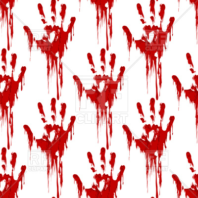 Bloody hand print seamless pattern horror background Vector Image.