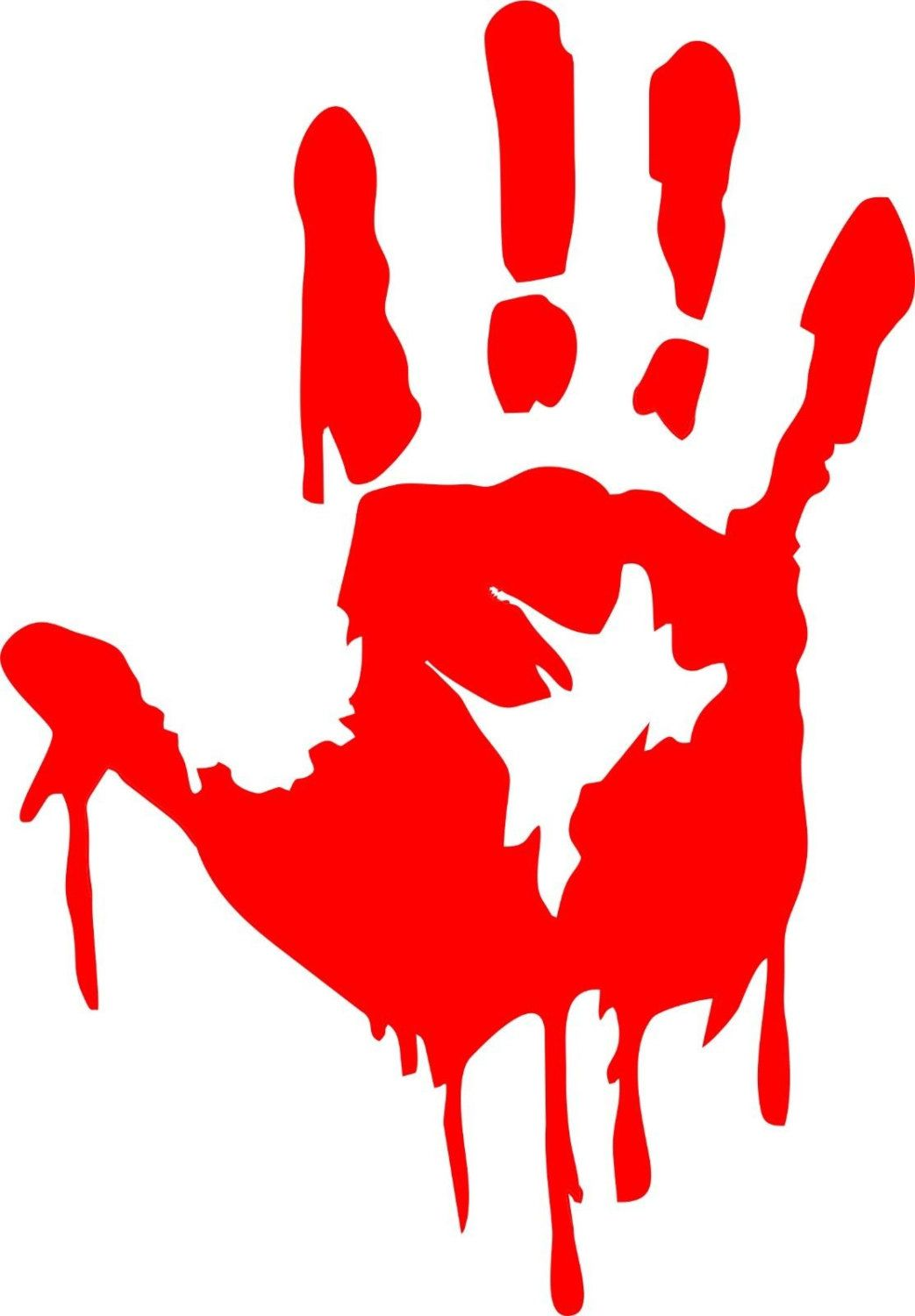zombie bloody hand decal.