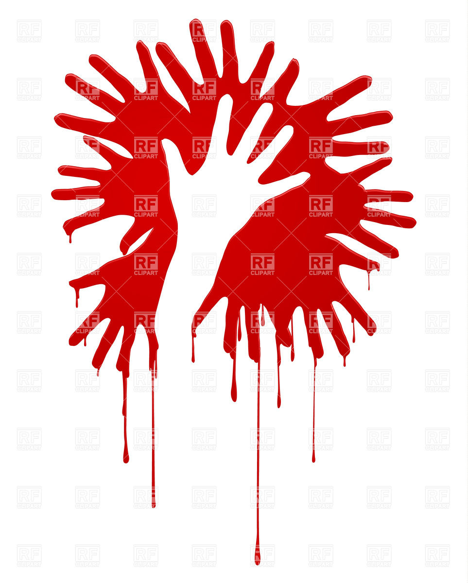 Bloody hands silhouette Stock Vector Image.