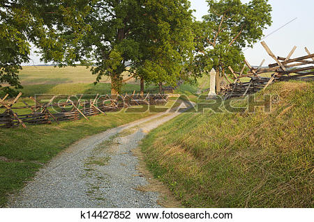 Stock Photo of Bloody Lane at Antietam Battlefield near Sharpsburg.