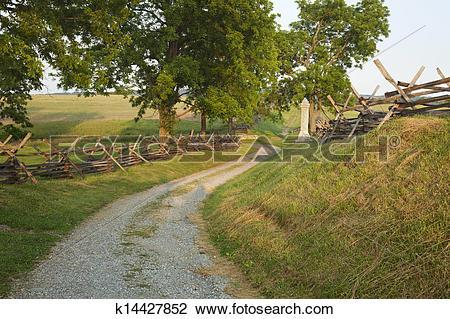 Stock Photo of Bloody Lane at Antietam Battlefield near Sharpsburg.