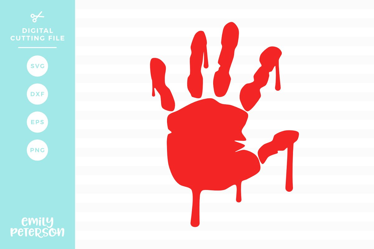 Bloody Handprint SVG DXF EPS PNG.