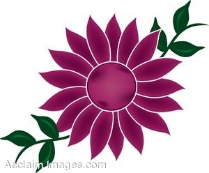 Clip Art of a Flower Bloom With Vines.