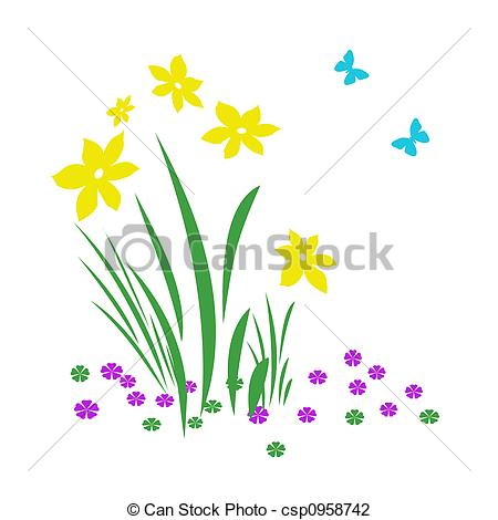 Clip Art of spring bloomers.