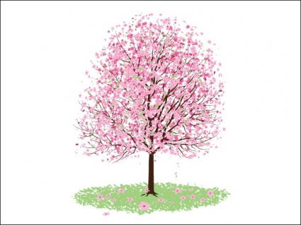 Cherry Blossom Flower Clip Art, Vector Cherry Blossom Flower.