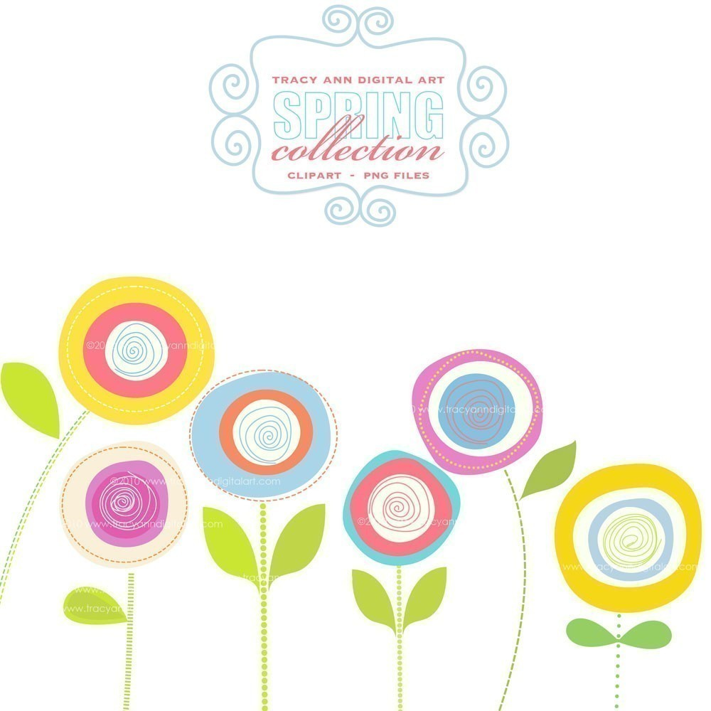 Blooming Spring Flowers Clip Art.