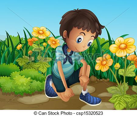 Vector Illustration of A sad boy near the blooming flowers.