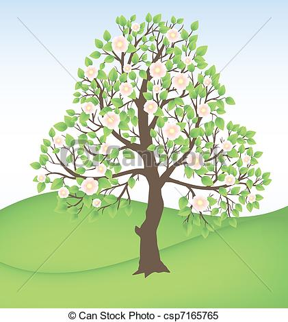 Clipart Vector of blooming tree.