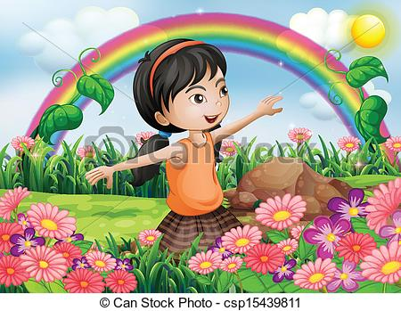 Vector Clip Art of A happy girl at the garden with fresh blooming.