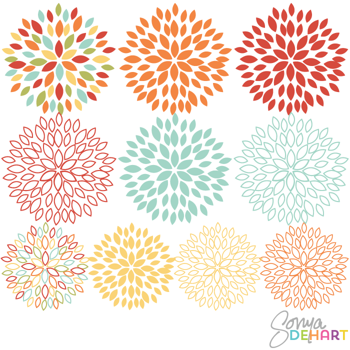 Clip Art Blooming Blossom Flowers.