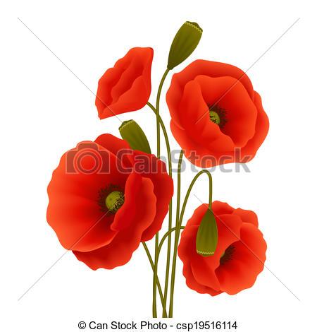 Vector Clip Art of Poppy flower poster.