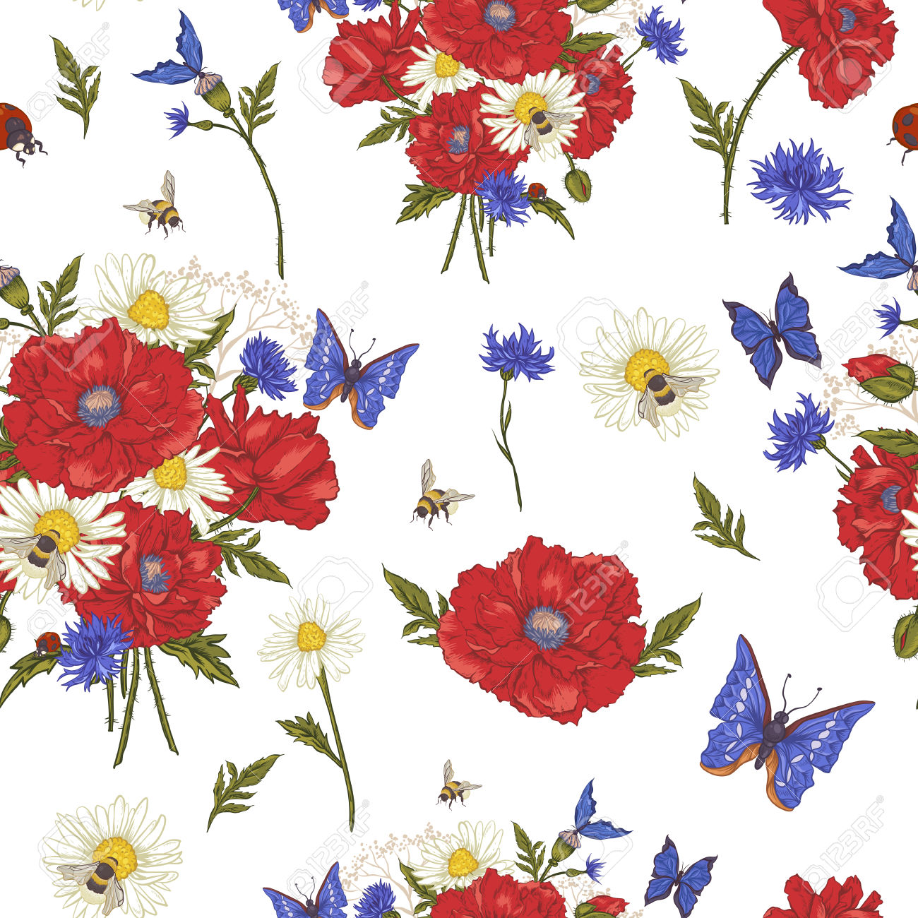 Summer Vintage Floral Seamless Pattern With Blooming Red Poppies.