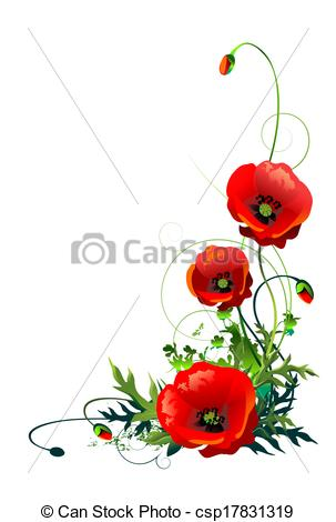 Clipart of Poppy Flowers Isolated.