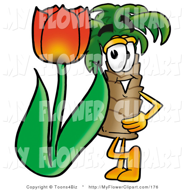 Clip Art of a Palm Tree Mascot Cartoon Character with a Blooming.