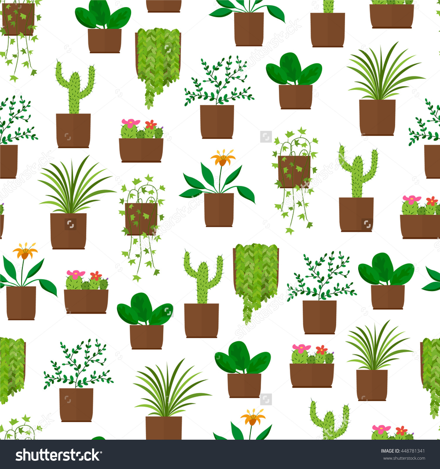 Houseplant Seamless Pattern Flat Style Design Stock Vector.
