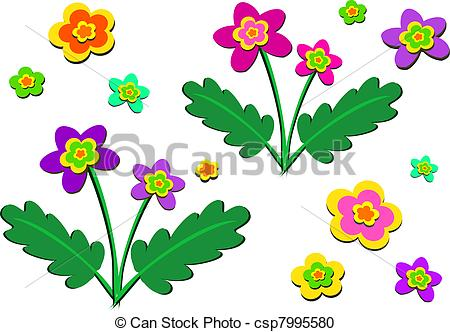 Vector Clipart of Mix of Flowering Plants and Single.