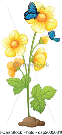 Vector Clip Art of A plant with blooming yellow flowers.