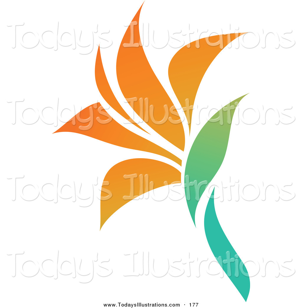 Clipart of a Blooming Orange Flower Logo Icon over White by elena.