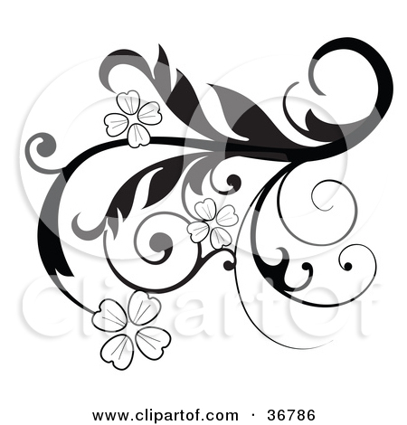Clipart Illustration of an Elegant Black And White Scroll Design.
