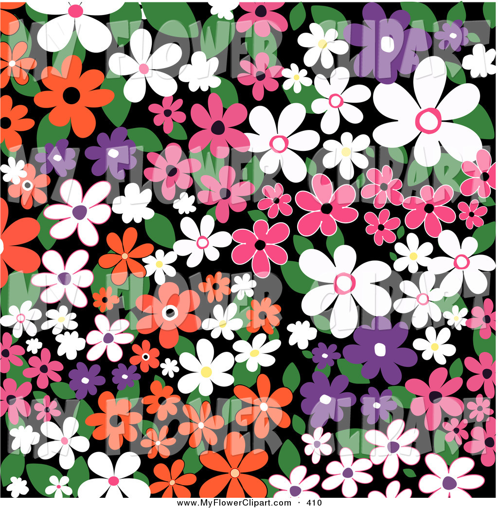 Clip Art of a Colorful Background of White, Orange, Pink and.