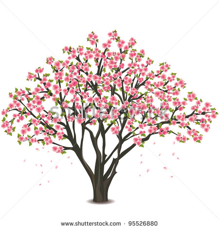 Clipart blooming tree with pink flowers.