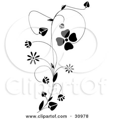Clipart Illustration of a Black Vine With Delicate Blooming.