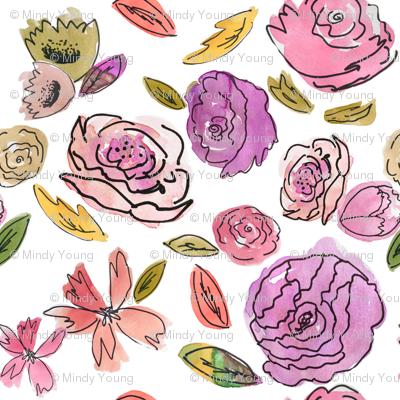 Indy Bloom Purple Doodle Floral giftwrap.