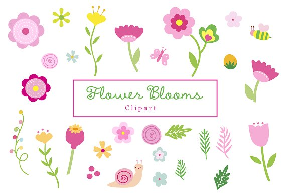 Flower Blooms Clipart ~ Illustrations on Creative Market.