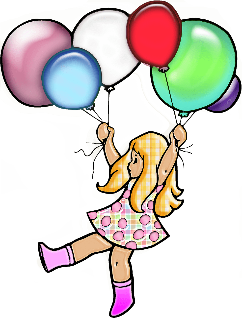 Girl with a balloons clipart. Free download..