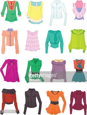 Set of blouses and tops Clipart Image.