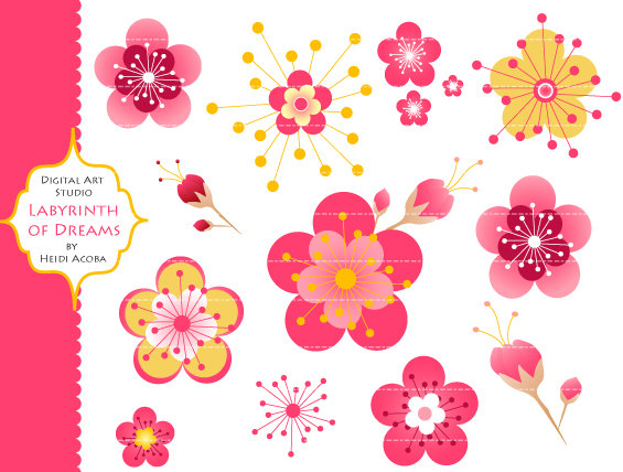 Cherry Blossoms Digital Clip art.