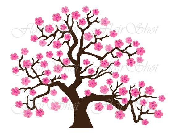 Digital Clip Art, Pink Cherry Blossom Tree Clipart, Bonsai.