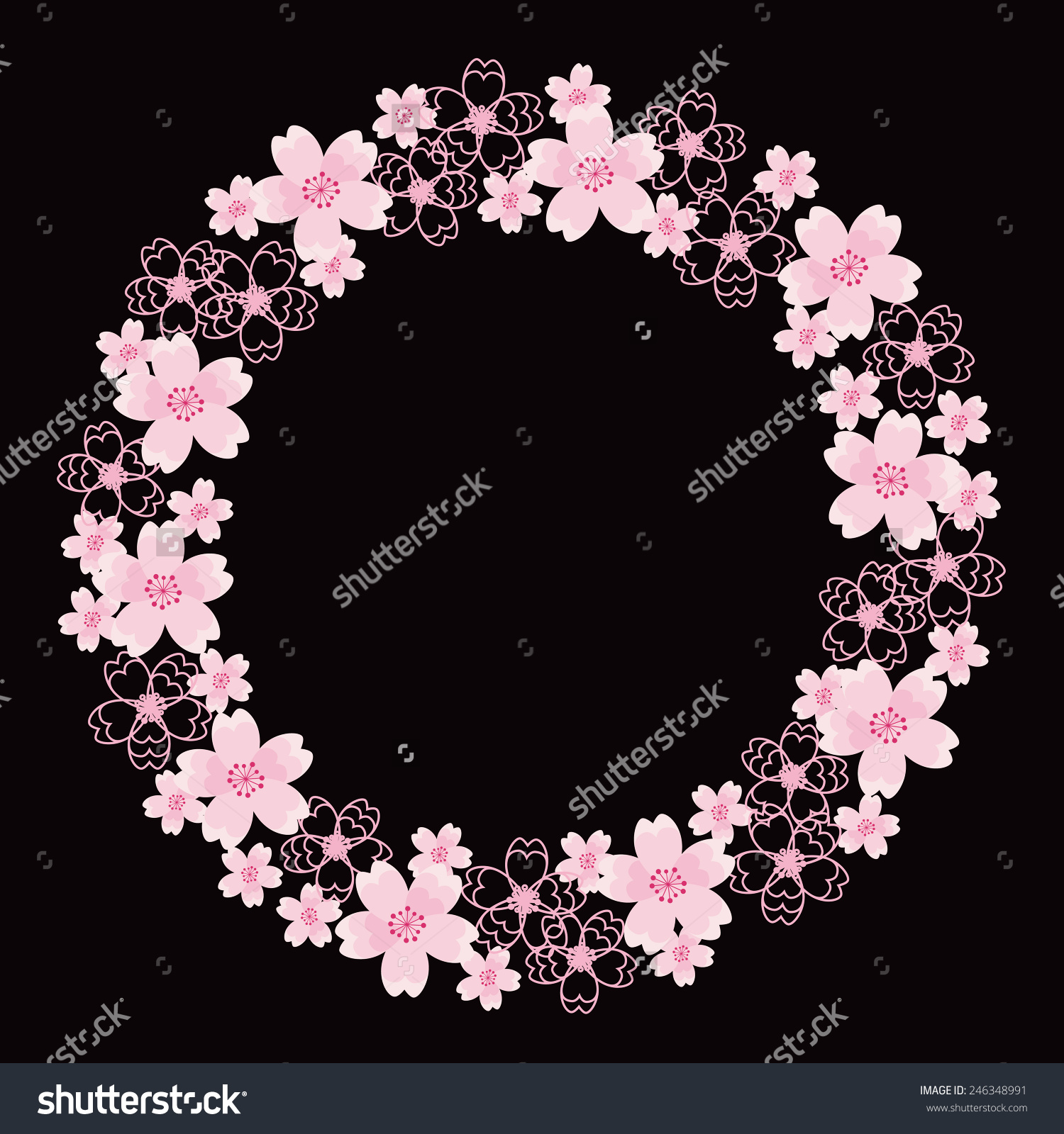 Cherry Blossom Wreath Stock Vector Illustration 246348991.