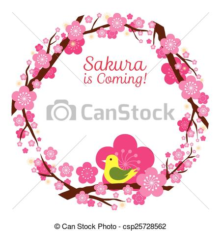 Clip Art Vector of Cherry Blossoms Wreath.
