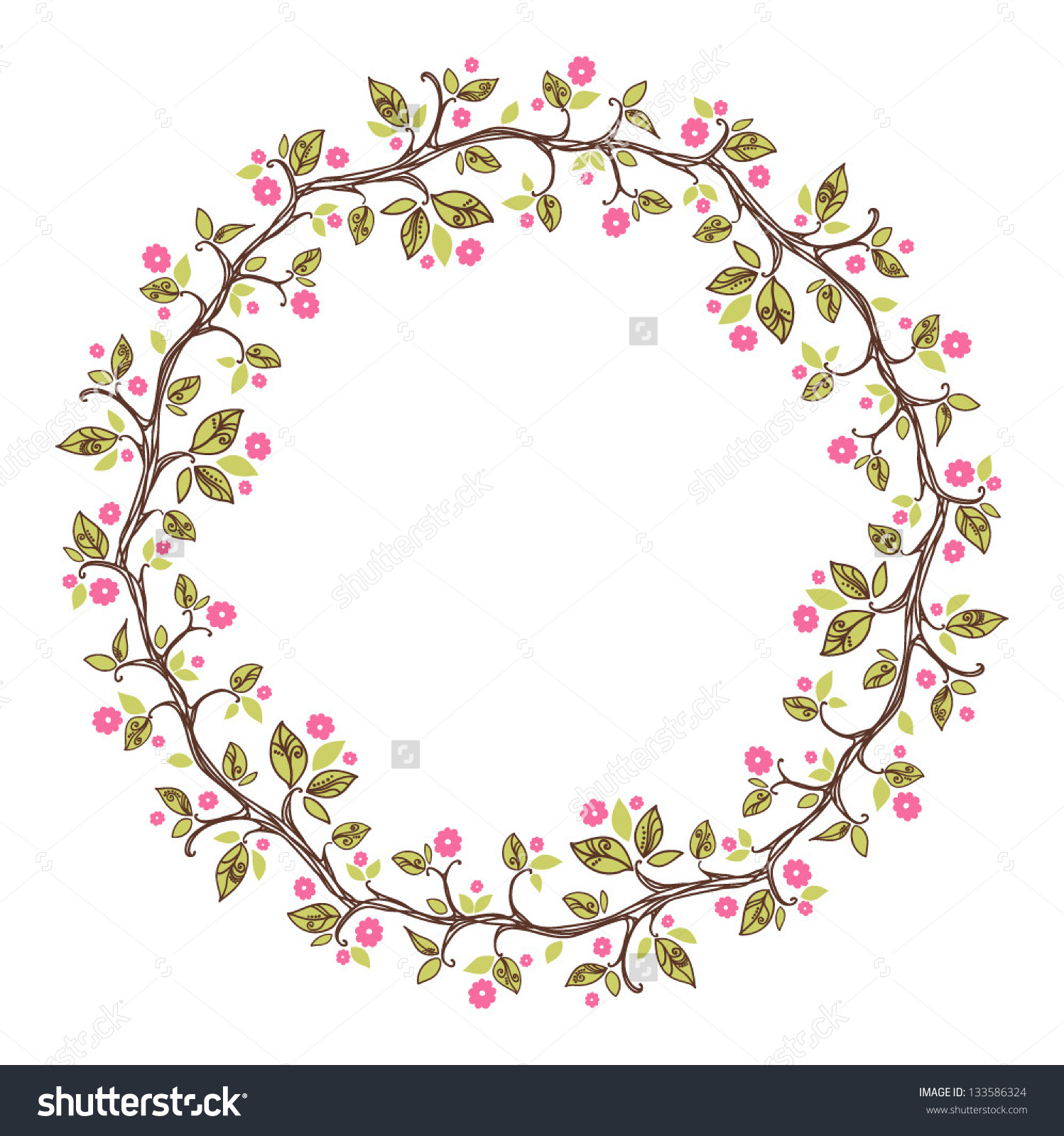 Card Floral Pattern Wreath Cherry Blossom Stock Vector 133586324.