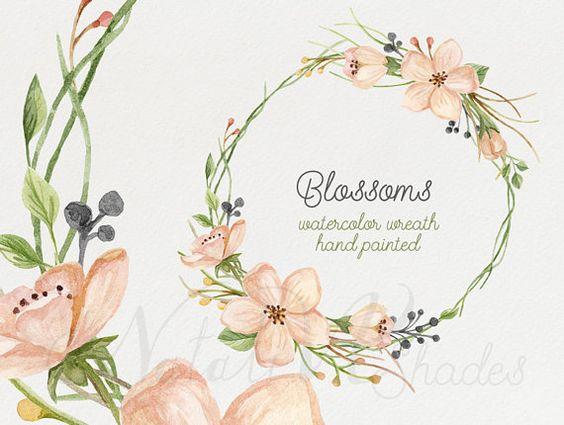 Watercolor blooming wreath. Hand painted floral wreath. Digital.