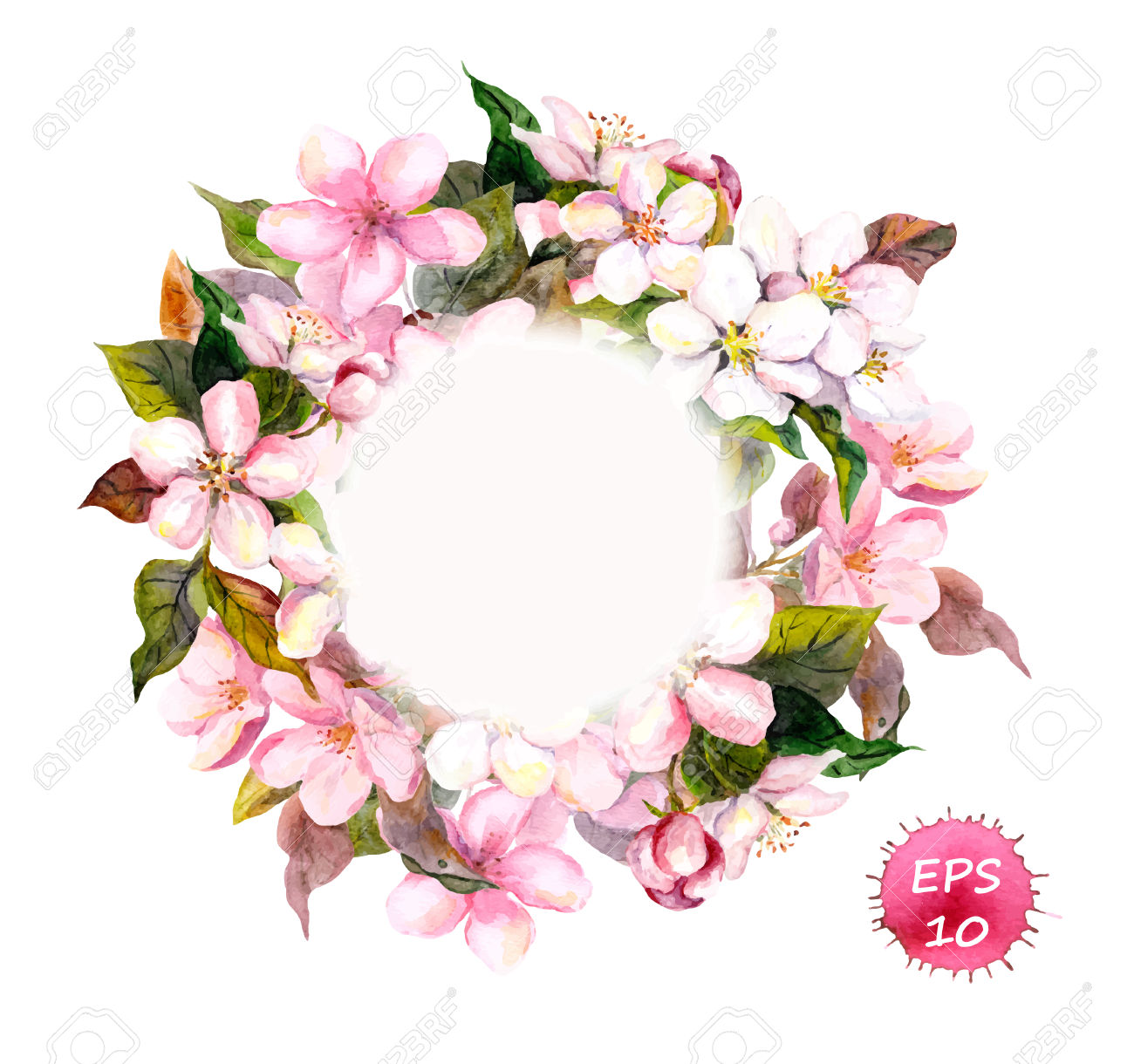 Frame Wreath With Cherry, Apple, Almond Flowers Blossom.