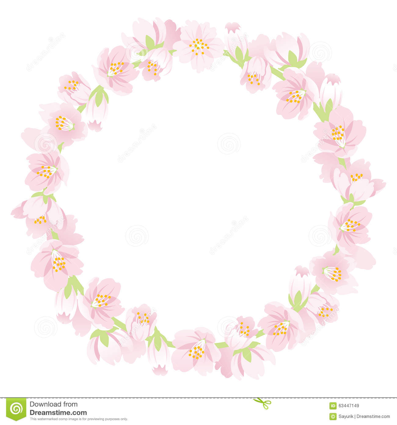Cherry Blossom Wreath Stock Vector.