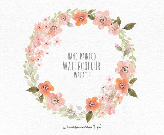 Watercolor wreath: hand painted floral wreath clipart / Wedding.