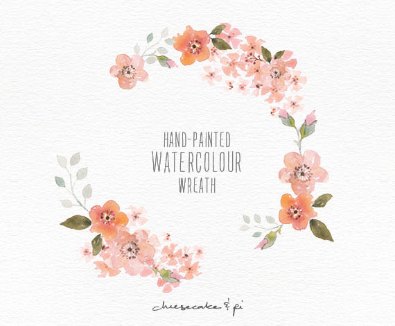 This elegant blossom watercolor wreath is hand painted with love.