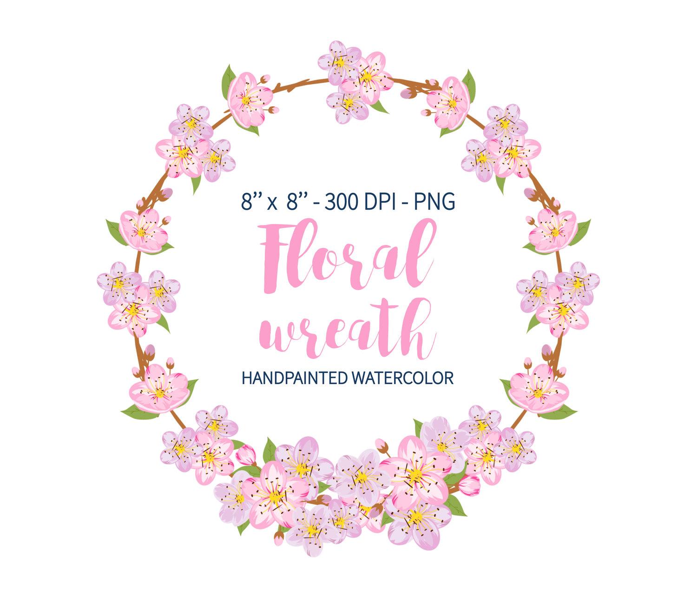 Watercolor Wreath Clipart, Wedding Floral Clipart, Hydrangea.