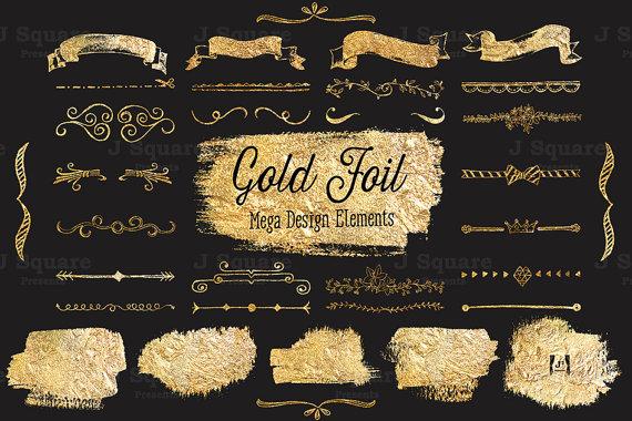 Gold Foil Text Divider/ Ribbon/ Blotch Clip Art by JSquarePresents.