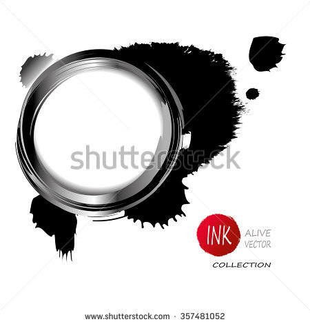 Vector Ink Circle Frame With Blotch.