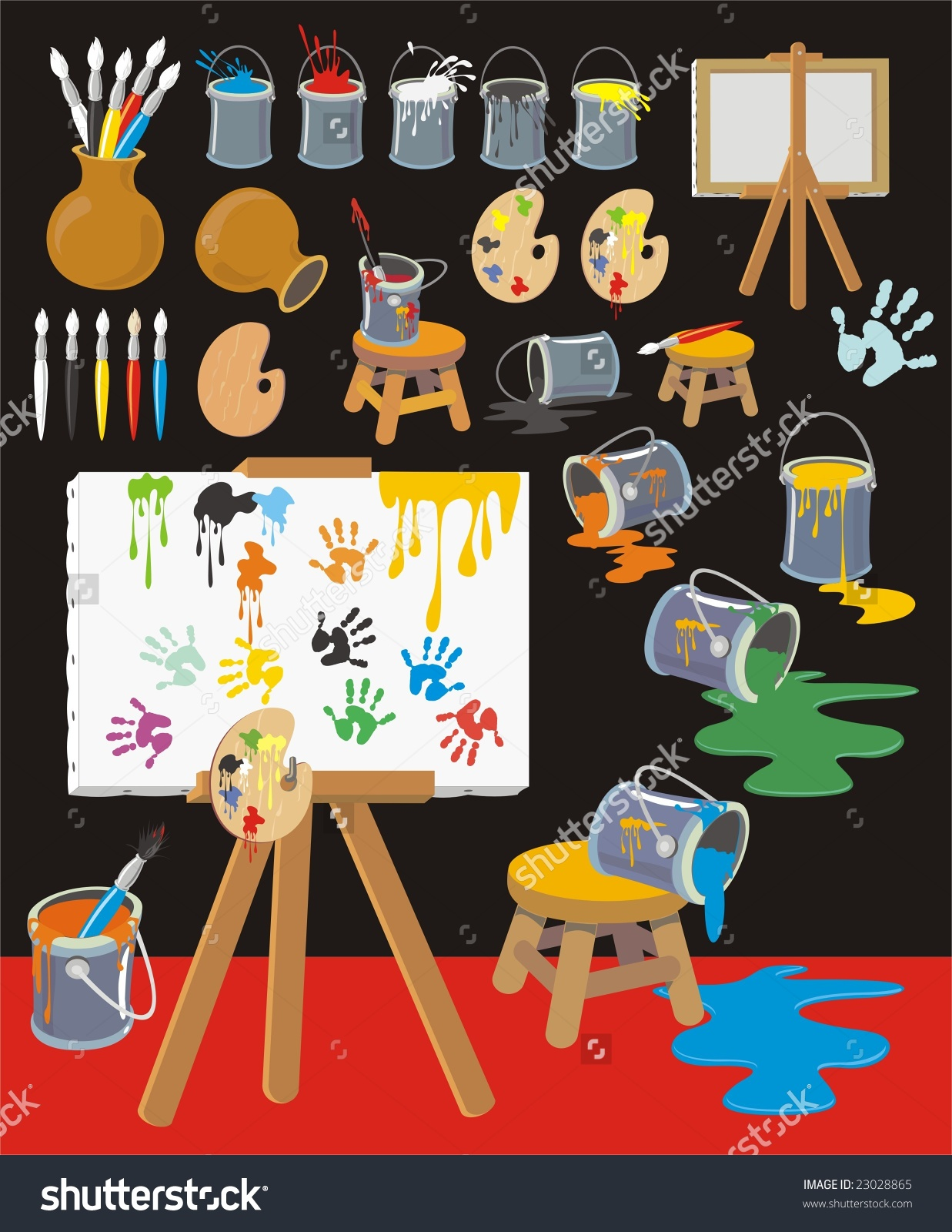 Clip Art With Palettes, Paintbrushes, Paint.