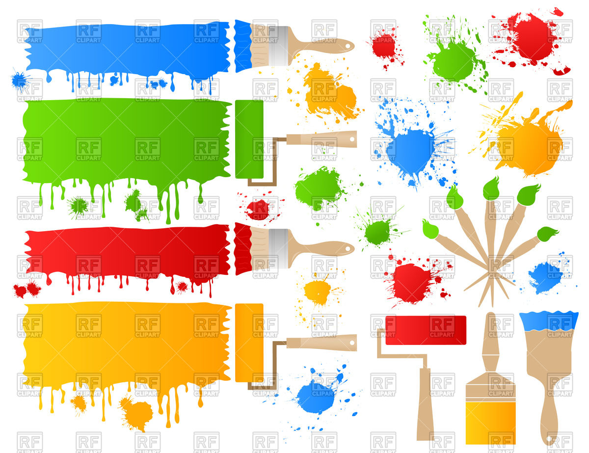 Paint brushes with blots.